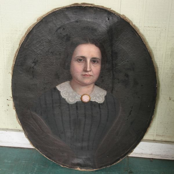 1: Mid 19th Century Portrait on canvas, oil, lady in da