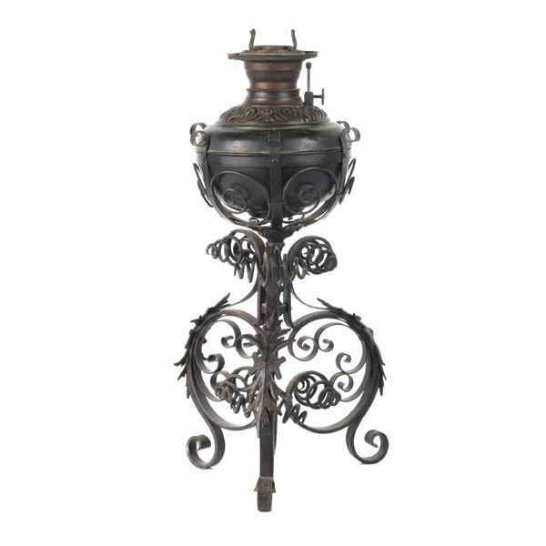 4: Late 1800 Victorian wrought iron lamp, brass font, f