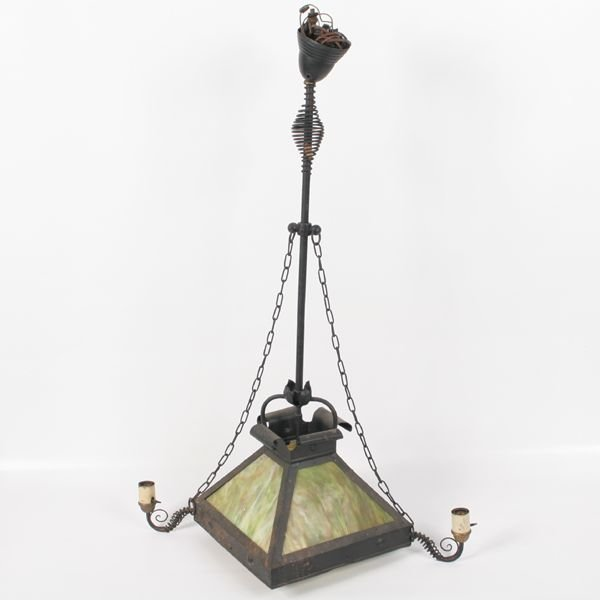 5: Early 1900 arts and crafts hanging lamp, four green