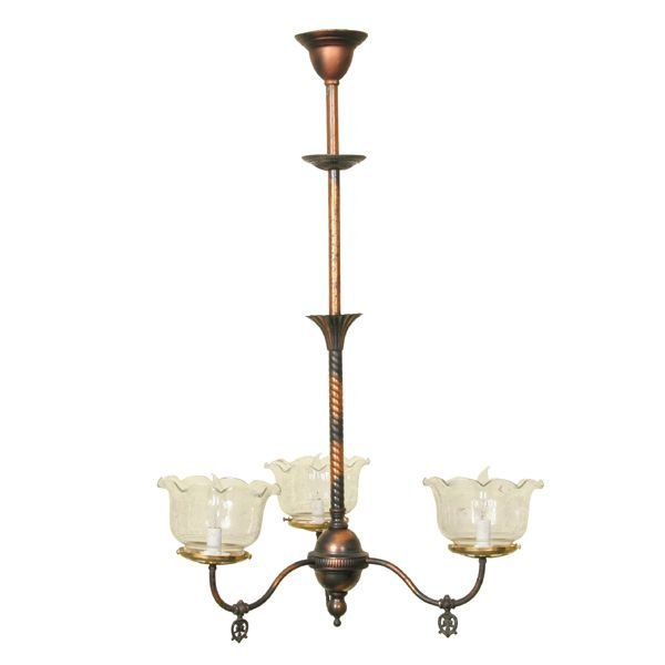 "6: C1900 hanging three arm light, original two tone ""an"