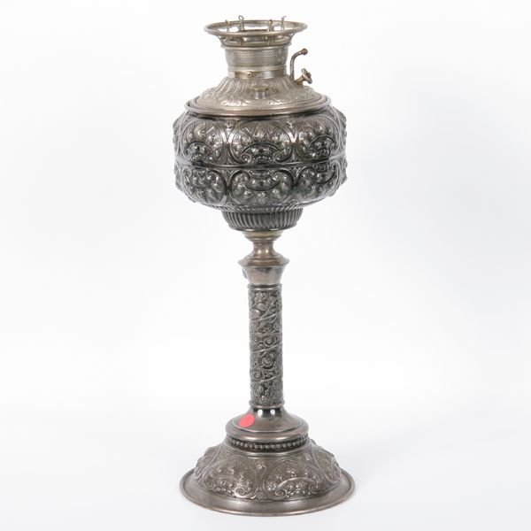 7: Rare late 1800 Victorian silverplate banquet lamp, ""