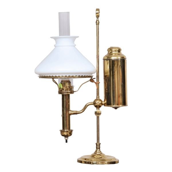 "13: Late 1800's student lamp, solid brass, ""Berlin"", mo"