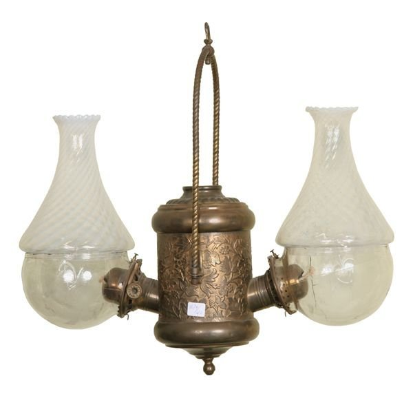"18: Late 1800 double hanging angle lamp, ""The Angle Lam"