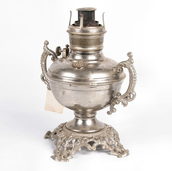 "19: Late 1800 kerosene lamp, ""Royal, 1893"", double cast"
