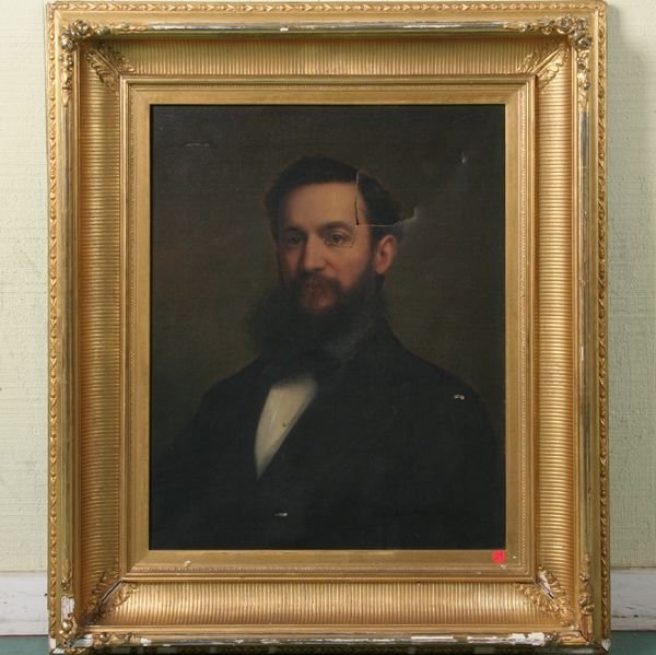 24: Mid 19th century oil on canvas portrait of gentlema