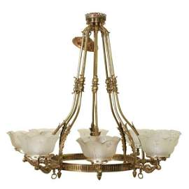 44: C1900 Victorian eight arm chandelier, solid brass,