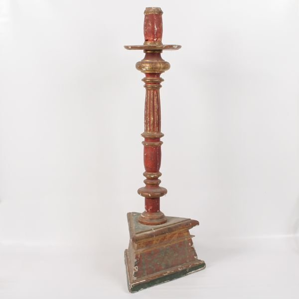 "101: Early large candlestick/torchier, 53""t, turned flu"
