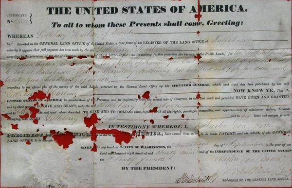 301: Original Florida land grant, September 20, 1839, s