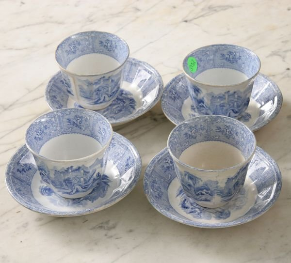 """302: Set of four cup and saucers, blue transfer, """"J. He"""