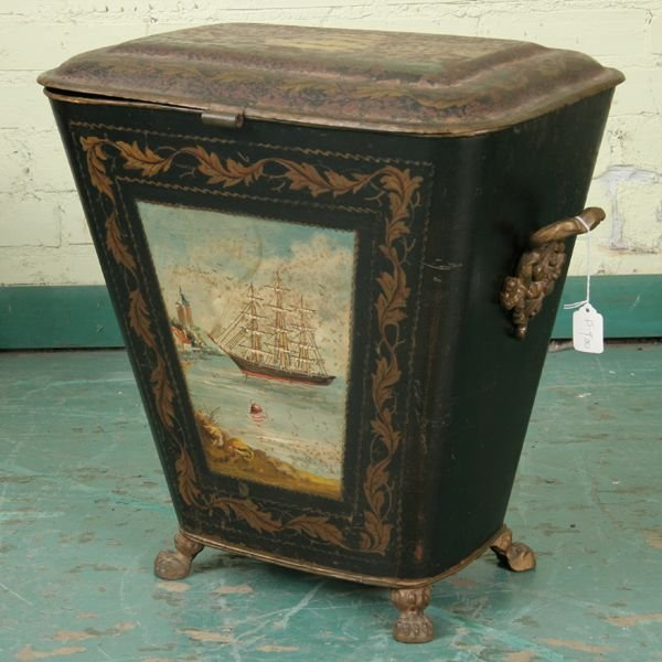 309: Hard to find mid 1800 Victorian tin coal bin, orig