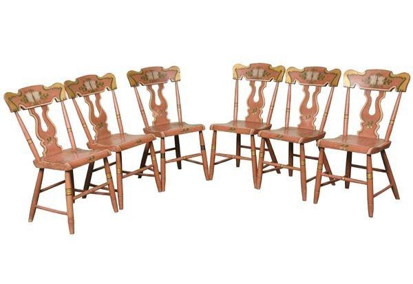 317: Set of six 19th Century dining chairs, great origi