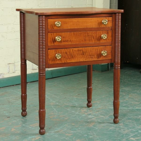 318: Early 1800 Sheraton three drawer stand, solid cher