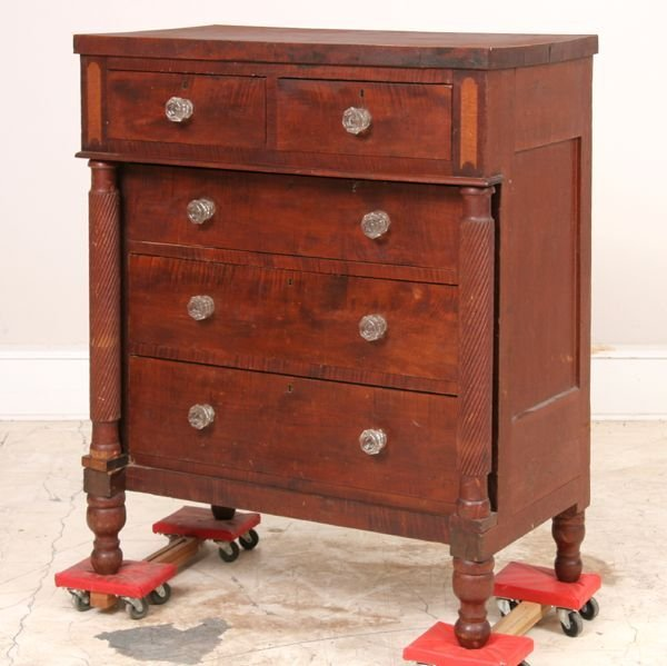 319: Early 1800 Sheraton chest, solid tiger maple front