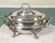 343: Fine early 1800 Sheffield covered tureen, heavy si