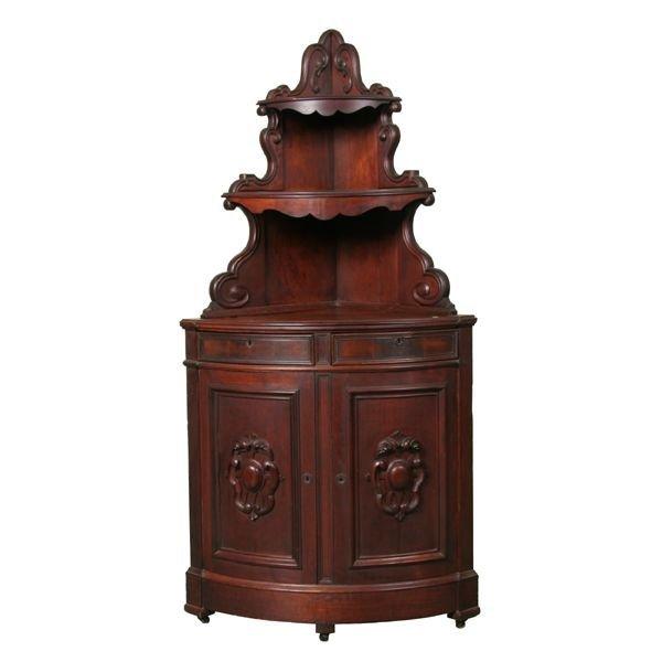 381: Rare mid 1800 Rococo Victorian corner cabinet, sol