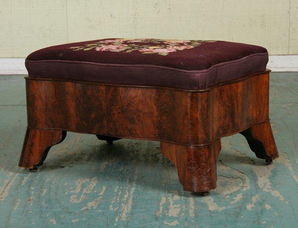 1: 1840 Empire ottoman, flame mahogany, serpentine skir