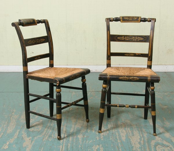 5: Set of eight mid 1800 Sheraton chairs, gold trim, ro