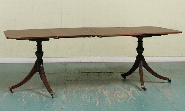 6: Mid 1900 Federal style two part dining table, mahoga
