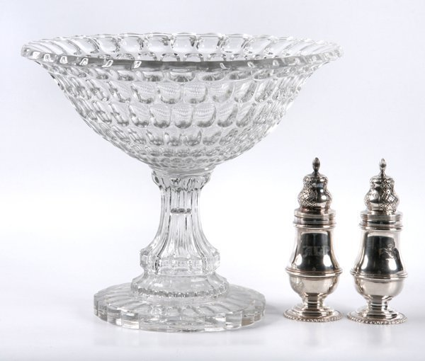 7: Large mid 1800 pattern glass compote, Argus pattern