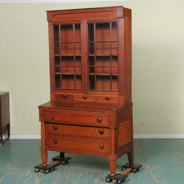 8: Early 1800 Classical Empire secretary, solid cherry,