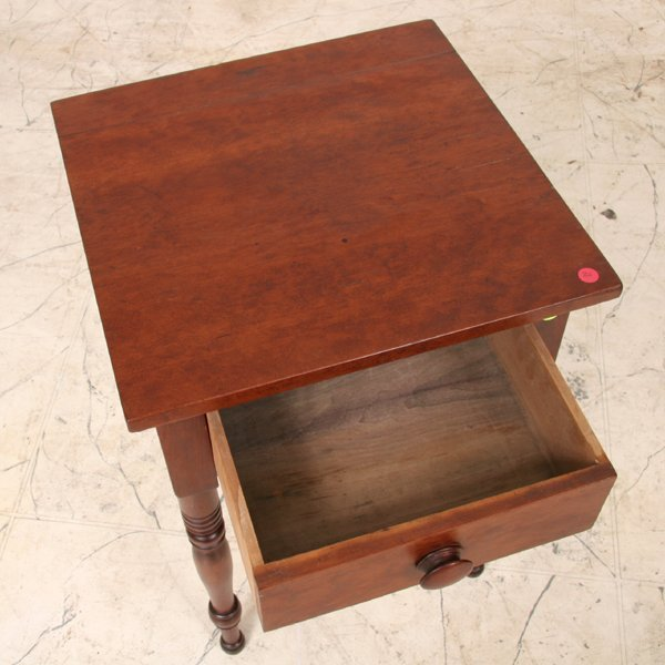 9: Early 1800 Sheraton one drawer stand, solid cherry,