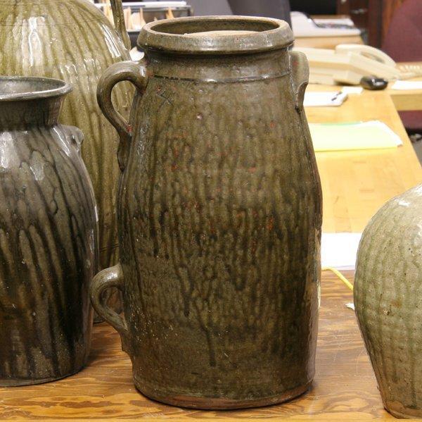 11: Mid 1800ovoid stoneware 4 gal churn, South Carolina