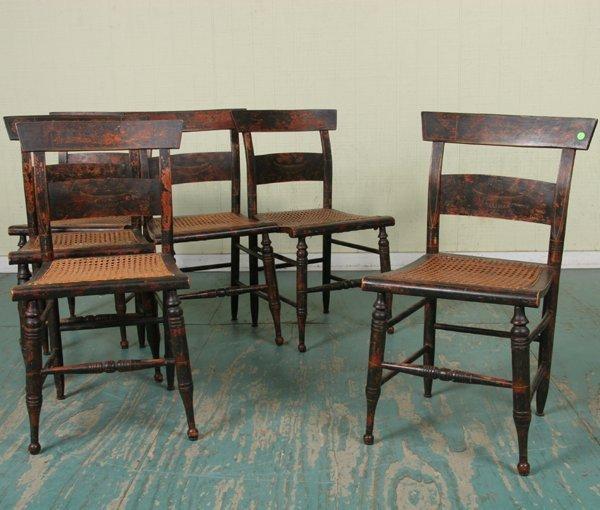 17: Lot of six mid 1800 Sheraton chairs, rosewood grain