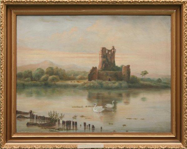 18: 19th century oil on canvas, swans on lake/castle ru