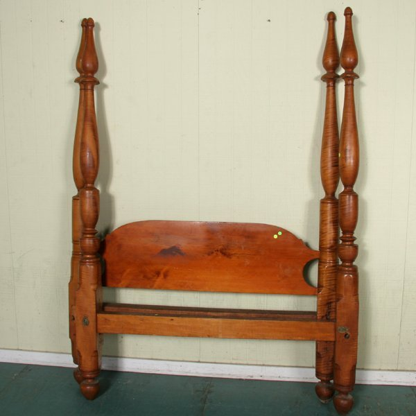 19: Early 1800 queen size canopy bed, solid tiger maple