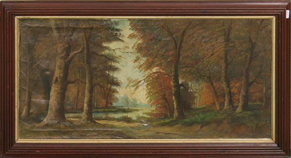21: 19th century oil on canvas landscape, lake in fores