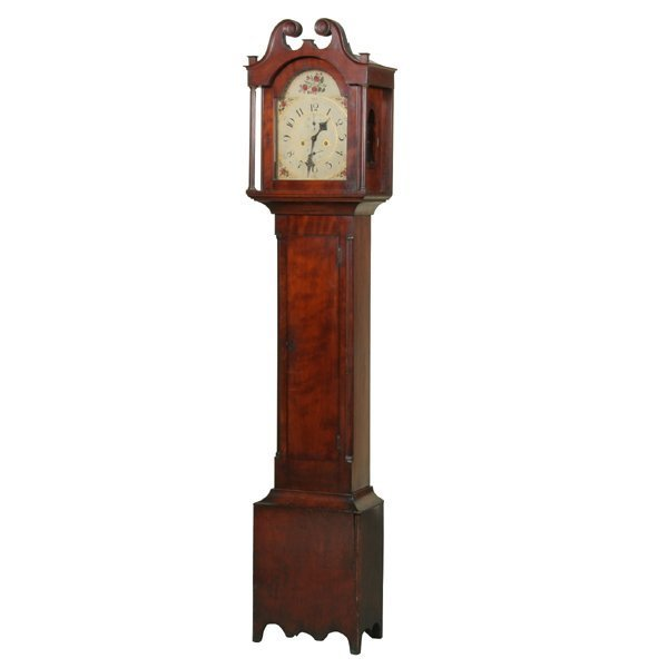 22: Early 1800 Federal tallcase clock, solid figured ch