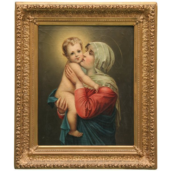 """23: 19th century oil on canvas, Mary with Jesus, 22"""" wi"""