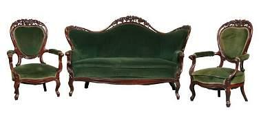 48: Fine mid 1800 Rococo Victorian three piece parlor s