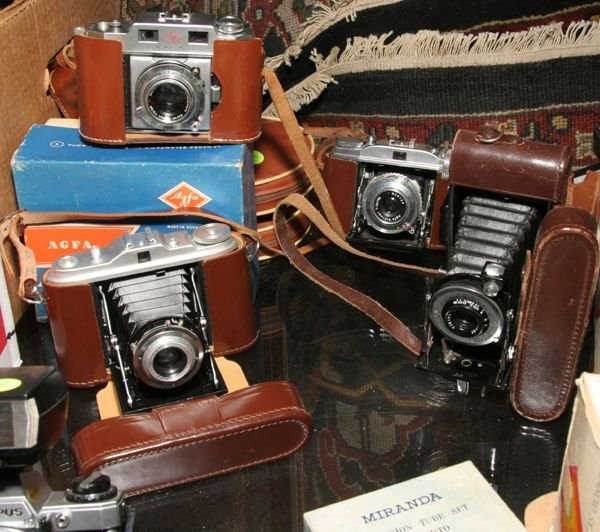 505: Lot of Agfa cameras, one carrot, one Isolet, one S