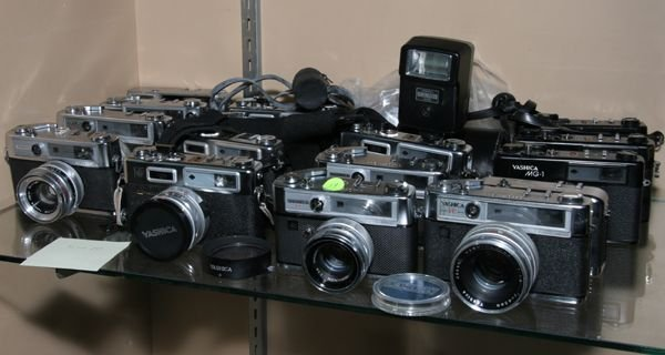 519: Lot of seventeen Yashica cameras, range finders IC