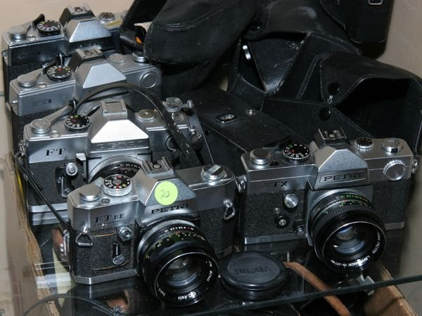 520: Lot of 5 Petri cameras, SLR, FT, FTX, FTEE, two FT