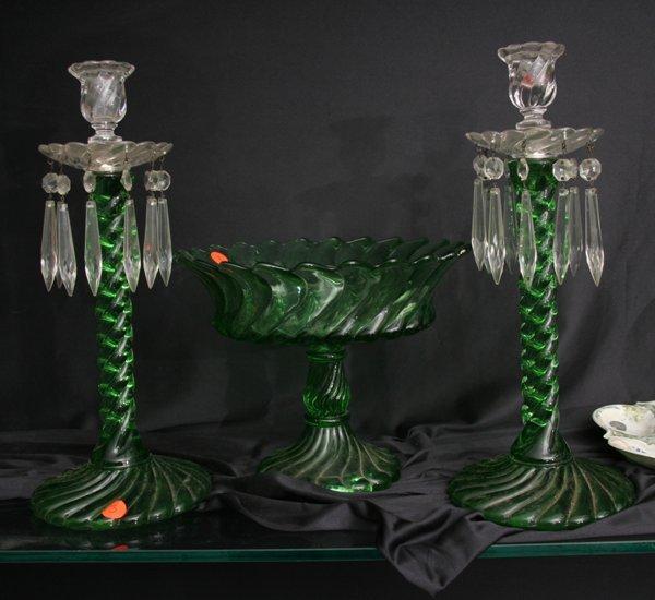 1003: Three piece table set, Baccarat style spiral patt