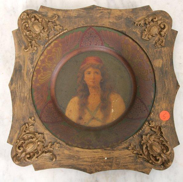 1005: Early 1900 Coca-Cola advertising plate, tin, moun