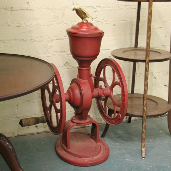 """1006: Late 1800 cast iron coffee grinder, double 12"""" wh"""