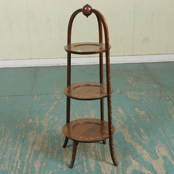 1007: Fine Colonial Revival muffin stand, solid mahogan