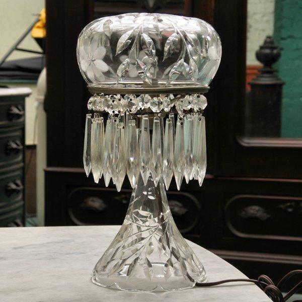 1009: Small brilliant cut glass boudoir lamp, floral pa