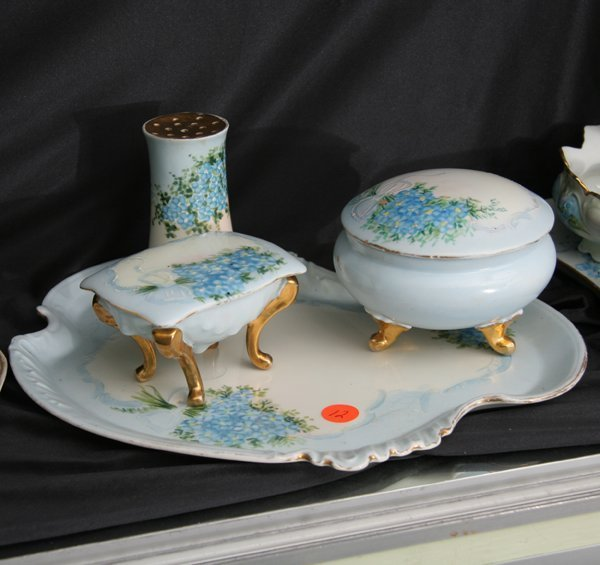 "1012: Porcelain four piece dresser set, ""Limoges, W. G."