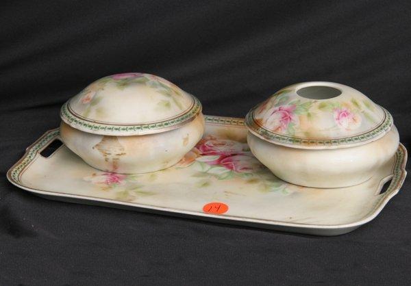 1014: Porcelain three piece dresser set, Germany, paint