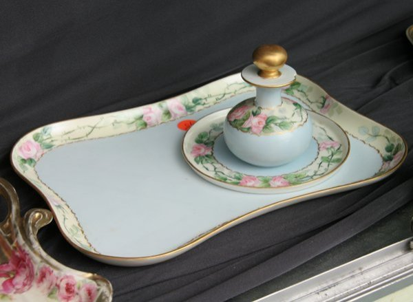 """1015: Porcelain three piece dresser set, """"Noritake, Nip"""