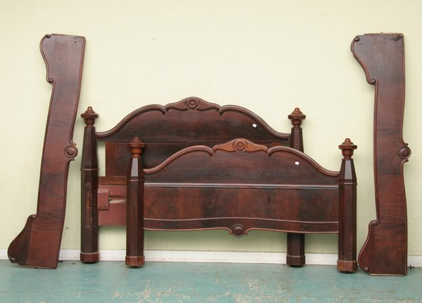 1021: Fine mid 1800 Empire bed, queen size, high grade