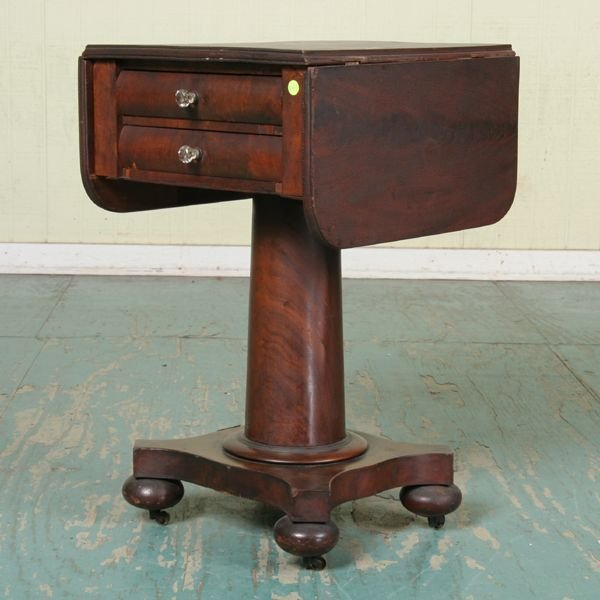 1022: Early 1800 Empire two drawer dropleaf stand, flam