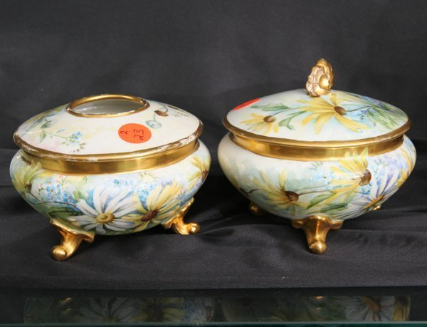 1023: Porcelain two piece dresser set, French, possibly