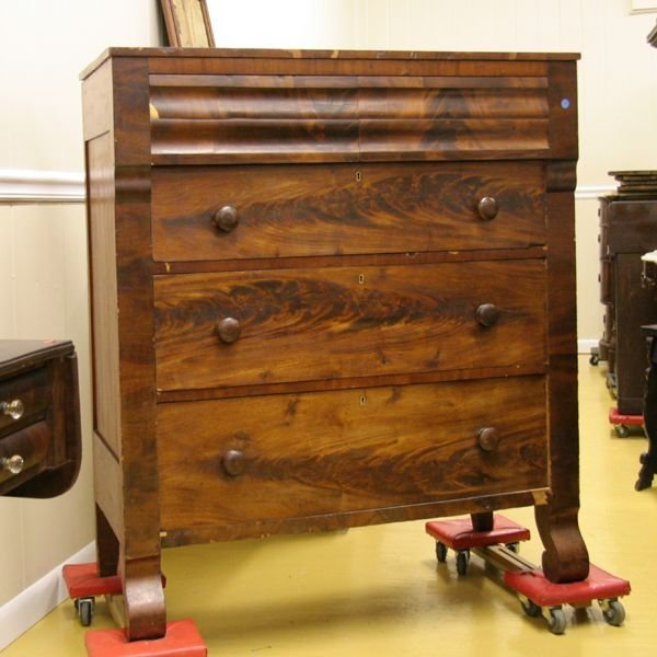 1024: Early 1800 Empire two over three drawer chest, fl