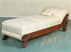 1189: Late 1800 fainting couch, tiger oak, scroll leaf