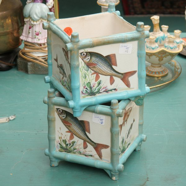 1207: Pair aesthetic Victorian flower pots, English reg